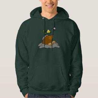 cute mole cartoon with a flower bee sweatshirt