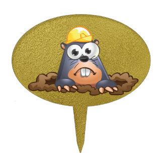 Cute Mole Digging Cartoon Cake Topper