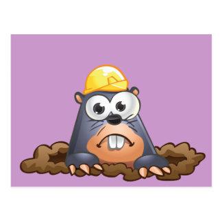 Cute Mole Digging Cartoon Postcard