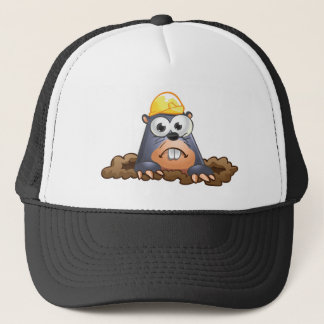 Cute Mole Digging Cartoon Trucker Hat