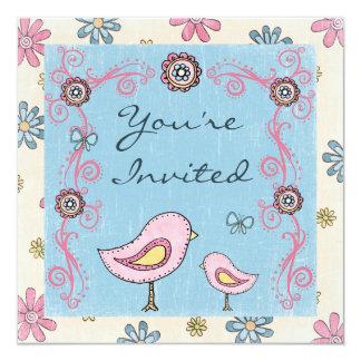 "Cute Mom and Baby Bird Baby Shower Invitation 5.25"" Square Invitation Card"