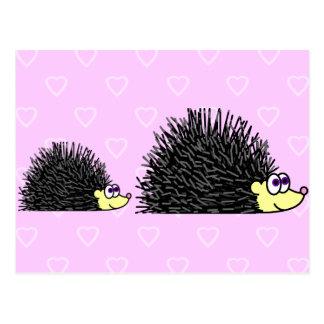 Cute Mom and Baby Hedgehog Postcard