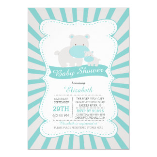 Cute Mom and Baby Hippo Boys Baby Shower 5x7 Paper Invitation Card