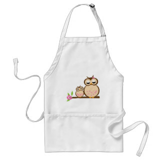 Cute mom and baby owl adult apron