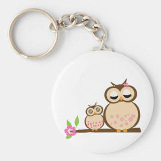 Cute mom and baby owl basic round button keychain