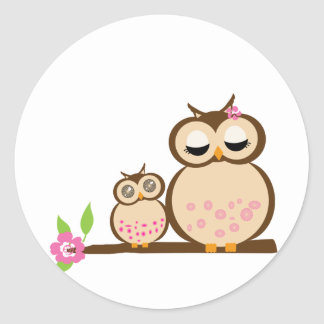 Cute mom and baby owl classic round sticker