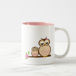 Cute mom and baby owl Two-Tone coffee mug