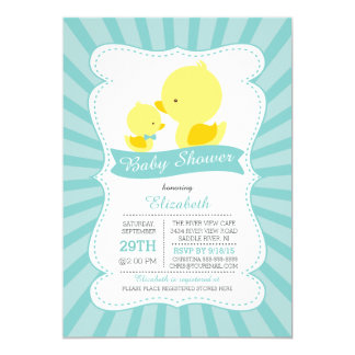 Cute Mom Baby Ducks Neutral Boys Baby Shower 5x7 Paper Invitation Card