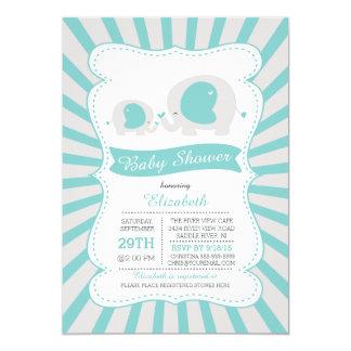 Cute Mom Baby Elephant Boys Baby Shower 5x7 Paper Invitation Card