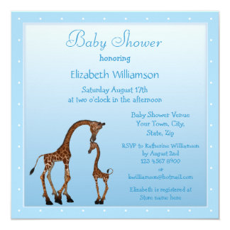 Cute Mom & Baby Giraffe Blue Baby Shower Personalized Announcement