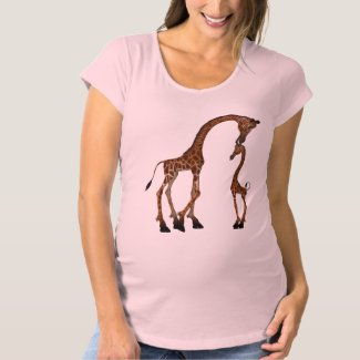 Cute Mom & Baby Giraffe Maternity T-Shirt