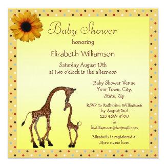 Cute Mom & Baby Giraffe Neutral Baby Shower Invite