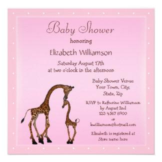 Cute Mom Baby Giraffe Pink Baby Shower Custom Invitation