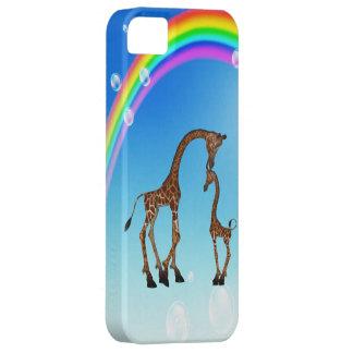 Cute Mom & Baby Giraffe & Rainbow iPhone SE/5/5s Case