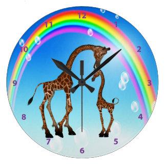 Cute Mom & Baby Giraffe & Rainbow Large Clock
