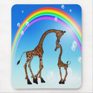 Cute Mom & Baby Giraffe & Rainbow Mouse Pad