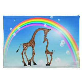 Cute Mom & Baby Giraffe & Rainbow Placemat Cloth Place Mat