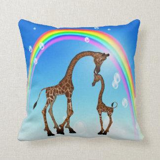 Cute Mom & Baby Giraffe & Rainbow Throw Pillow