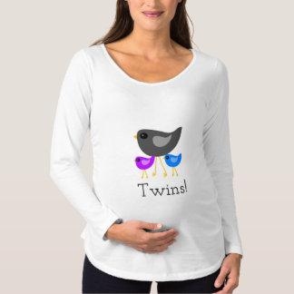 Cute mom bird twin babies maternity shirt