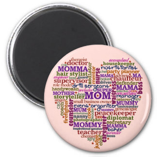 Cute Mom Mother's Day Word Art Heart 2 Inch Round Magnet