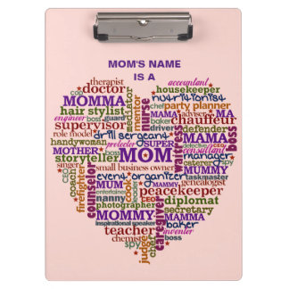 Cute Mom Mother's Day Word Art Heart Personalized Clipboard