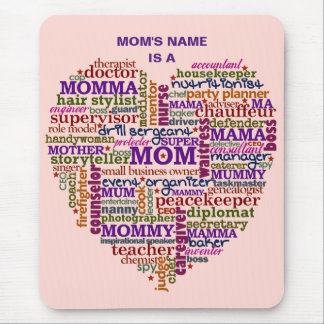 Cute Mom Mother's Day Word Art Heart Personalized Mouse Pad