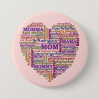 Cute Mom Mother's Day Word Art Heart Pinback Button