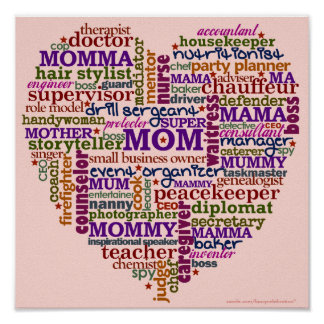 Cute Mom Mother's Day Word Art Heart Poster