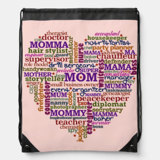 Cute Mom Mother's Day Word Art Heart Typography Drawstring Backpacks
