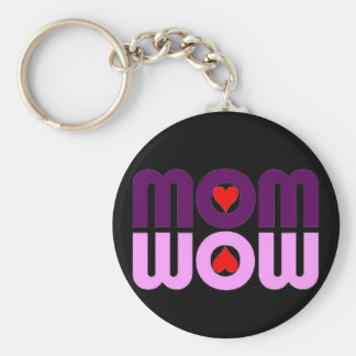 Cute Mom reflection with hearts Basic Round Button Keychain