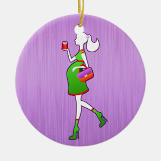 Cute Mom To Be Maternity Personalized Dated Ceramic Ornament