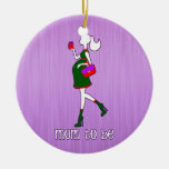 Cute Mom To Be Maternity Personalized Dated Double-Sided Ceramic Round Christmas Ornament