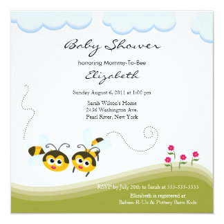 CUTE Mom to Bee Baby Shower Invitation