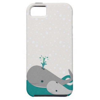 Cute Moma and Baby Whale on the Waves iPhone 5 Covers