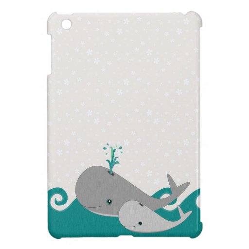 Cute Moma and Baby Whale on the Waves iPad Mini Covers