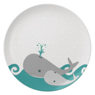 Cute Moma and Baby Whale on the Waves Melamine Plate