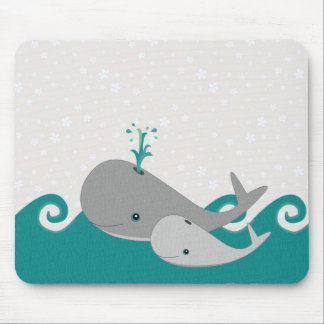 Cute Moma and Baby Whale on the Waves Mouse Pad