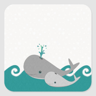 Cute Moma and Baby Whale on the Waves Square Sticker