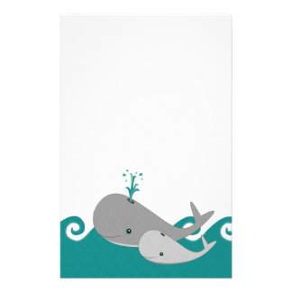 Cute Moma and Baby Whale on the Waves Stationery