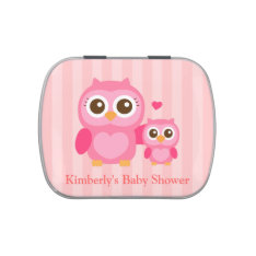 Cute Mommy and Baby Pink Owl, Baby Shower Jelly Belly Tins at Zazzle