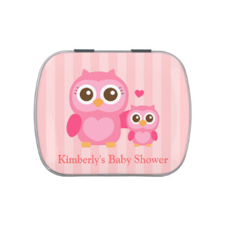 Cute Mommy and Baby Pink Owl, Baby Shower Jelly Belly Tins