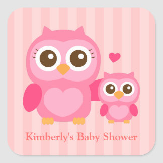Cute Mommy and Baby Pink Owl, Baby Shower Square Sticker