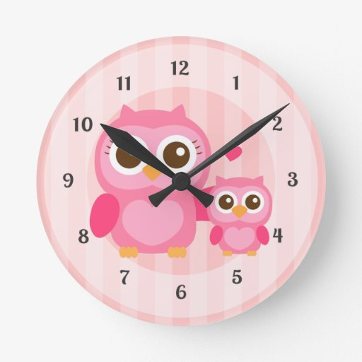 Cute Mommy And Baby Pink Owl Girls Bedroom Round Wall