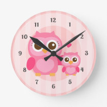 Cute Mommy and Baby Pink Owl, Girls Bedroom Round Wallclock