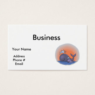 cute mommy and baby whale business card