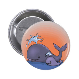 cute mommy and baby whale pinback button