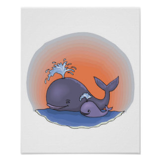 cute mommy and baby whale poster