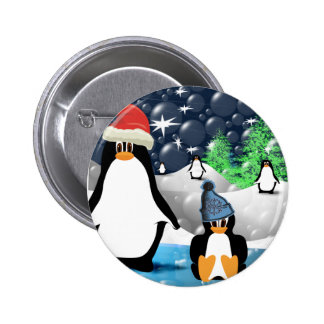 Cute Mommy & Baby Santa Penguins 2 Inch Round Button
