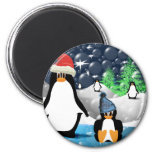 Cute Mommy & Baby Santa Penguins Refrigerator Magnets