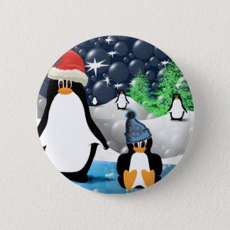Cute Mommy & Baby Santa Penguins Pinback Button